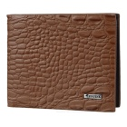Fashion Men's Alligator Grain Short Style Leather Wallet - Brown