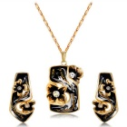 Xinguang Black Oil Painting Earrings + Necklace for Women - Gold