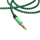 3.5mm Male to Male Nylon Braided Audio AUX Cable - Green+Black (103cm)
