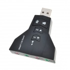 Virtual 7.1 Channel USB 2.0 Audio Adapter Sound Card - Black