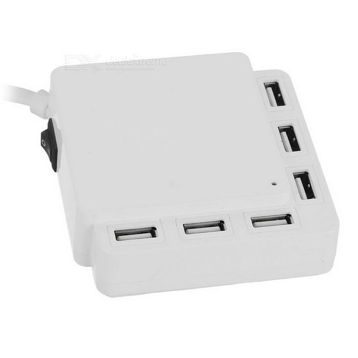 Cwxuan 6-Port USB 5V Smart Charger Power Adapter - Weiß (EU-Stecker / 100 ~ 240V)