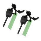 Outdoor Survival Camping Mini Fire Starter Flintstone - Black + Green (2 Sets)