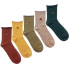 Men's Bicycle Embroidery Medium Length Socks (EUR 40~45 / 5 Pairs)