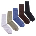 Men's Simple Style Medium Length Socks (EUR 40~45 / 5 Pairs)
