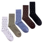 Men's Swan Pattern Medium Length Socks (EUR 40~45 / 5 Pairs)