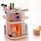 Korean Style Tabletop 360° Rotatry Cosmetic Organizer Box - White