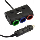 Jtron 120W 3.1A DC 12~24V 3-Socket Car Cigarette Lighter - Black