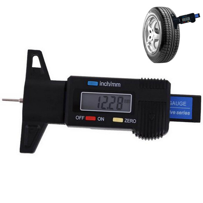 Digital LCD 0~25mm Metric /  Car Tire Tread Depth Gauge Tool - BlackOthers<br>Form  ColorBlackModelAG235Quantity1 DX.PCM.Model.AttributeModel.UnitMaterialABS + carbon fiberOther FeaturesRange: 0~25mm <br>Accuracy: 0.01mm <br>Measurement Unit: inch / millimeter <br>Working Temperature: 0~40C <br>Battery: SR44 / LR44 1.5V<br>1 clear LCD display.<br>Zero setting at any position.<br>Metric / inch system interchange.<br>Manual power on / off.<br>Suitable for tread depth measurement.<br>Mini size, handheld and portable.<br>Designed with electroplated iron probe.Packing List1 x Guage<br>