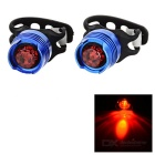 3-Mode LED Aluminum Alloy Red Bike Taillight / Warning Light - Black + Blue (2 PCS / 2 x CR2032)