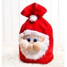 Christmas Upscale Plush Elderly Large Gift Bag Santa Claus Dress Bag - White + Red