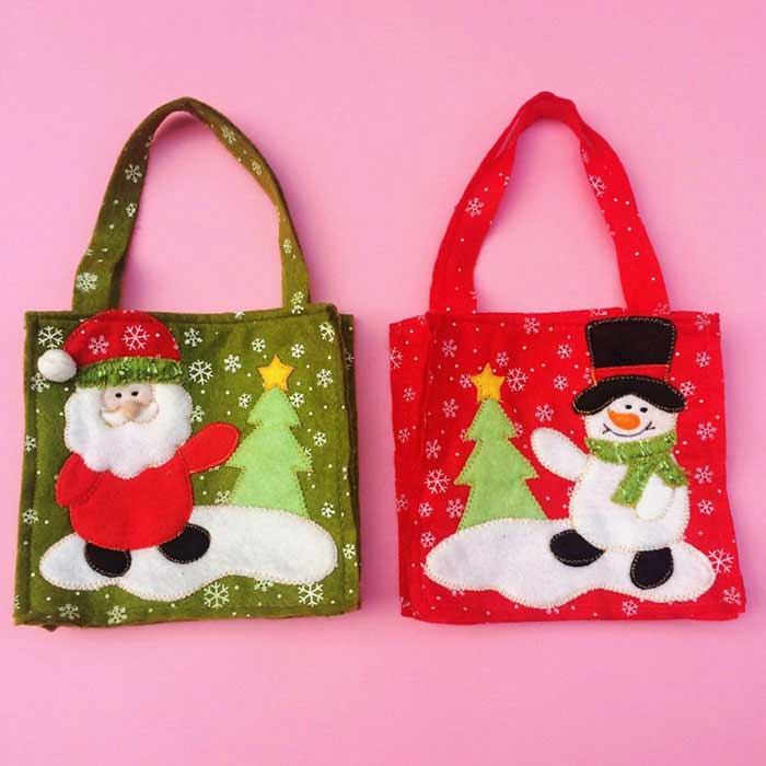 Christmas Elderly Snowman Gift Candy Bags Decorations - Red (2PCS)