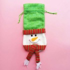 Christmas Snowman Ornament Bottle Bag Candy Bag- Green