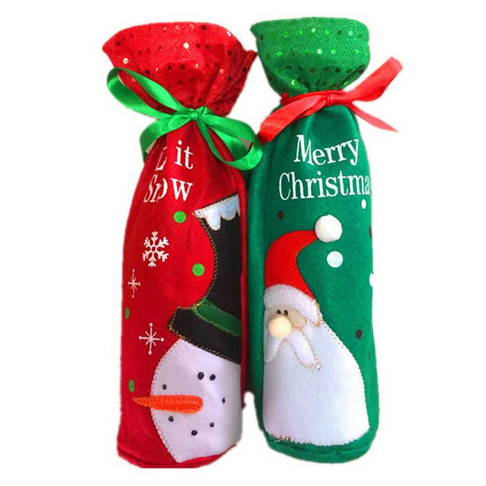 Santa Claus Candy Bag Snowman Ornament Bottle Bag - Green (2PCS)Christmas Gadgets<br>Form  ColorRed + GreenMaterialClothQuantity2 DX.PCM.Model.AttributeModel.UnitSuitable holidaysChristmasPacking List2 x Wine Bottle bags<br>
