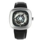 SPEATAK SP9053G Fashion Leather Strap Square Dial Analog Display Quartz Watch - Silver + Black