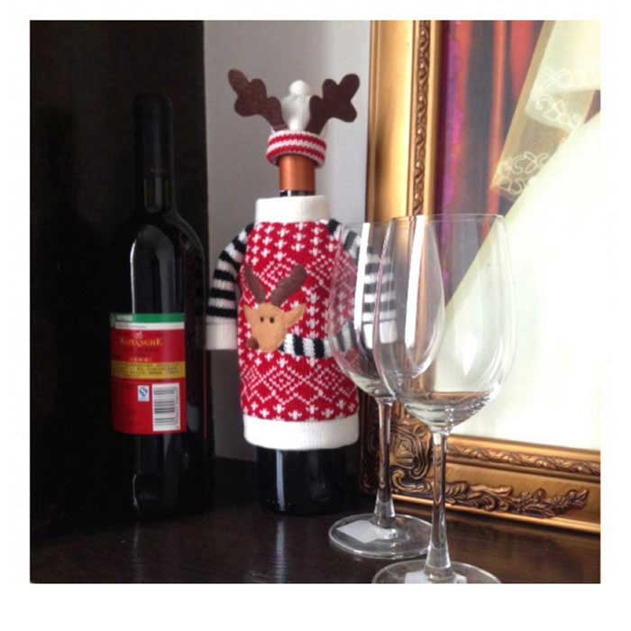 Christmas Deer Style Wine Bottle Cover Clothes + Hat - White + Red