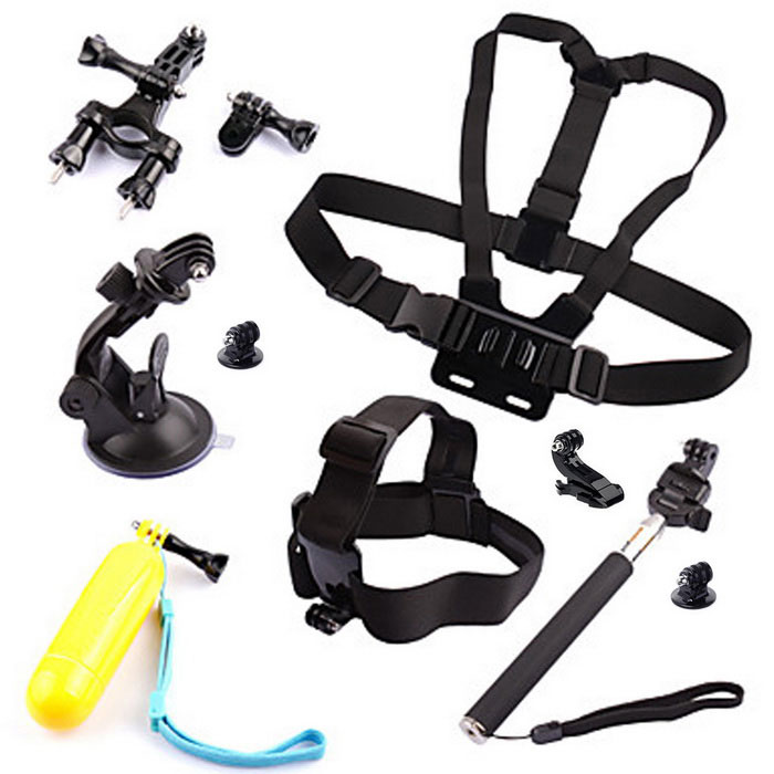 Sports Camera Kit for GoPro Hero 4 Session 4 3+ SJ4000 SJ5000 SJCamOther GoPro Accessories<br>Form ColorBlackQuantity1 DX.PCM.Model.AttributeModel.UnitMaterialABSShade Of ColorBlackPacking List1 x Headband1 x Chest strap1 x Car suction cup mount holder1 x Self-timer lever1 x Bike mount2 x Tripod adapters1 x Buoyancy stick1 x J-mounts2 x Adapters3 x Screws<br>