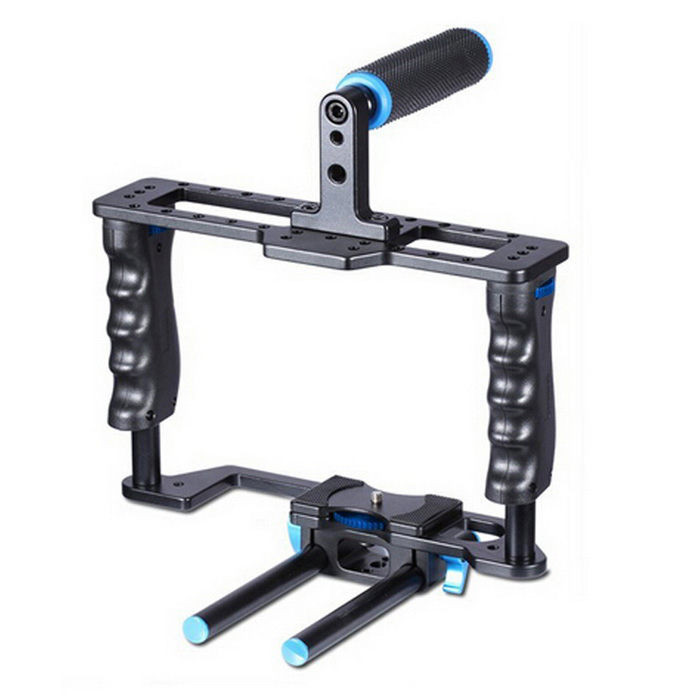 YELANGU Aluminum Alloy Professional Portable DSLR Camera Cage - Black + Blue