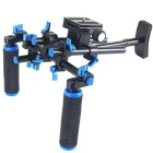 YELANGU Smooth Video Shooting Equipment Double Handle Rig Camera Shoulder Mount Holder- Black + Blue