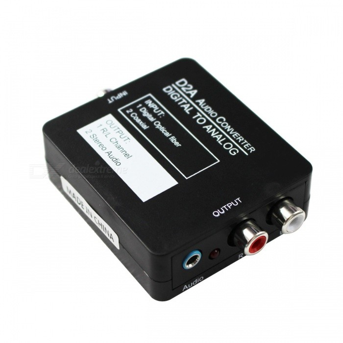 Coaxial or Toslink Digital to Analog Audio Converter w/ 3.5mm - BlackOther Accessories<br>Form ColorBlackQuantity1 DX.PCM.Model.AttributeModel.UnitMaterialABSOther FeaturesMain features:<br><br>Converts SPDIF Optical or Coaxial digital PCM audio input to analog stereo L/R RCA and 3.5mm headphone outputs simultaneously<br>Supported sample rates including 32kHz, 44.1kHz, 48kHz, 96kHz and 192kHz, up to 24-bit resolution<br>Ultra low jitter and high fidelity design using new receiver &amp; D/A converter chips<br>Auto sensing input selection with priority given to SPDIF; disable / disconnect SPDIF input for coaxial input application<br>Provides electromagnetic-noise-free transmission<br>Easy to install and simple to operate<br><br>Specifications:<br><br>Input ports: 1 x Toslink/SPDIF, 1 x Coaxial<br>Output ports: 2 x RCA(L/R), 1 x 3.5mm Phone jack<br>Sampling rate: 32KHz, 44.1KHz, 48KHz, 96 KHz and 192KHzPacking List1 x Converter1 x USB power cable (95cm)<br>