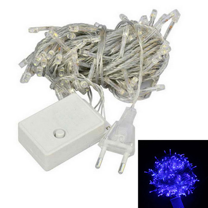 UE plug 6W 480nm luz azul luz LED decorativo de 100-LED (9.5m)