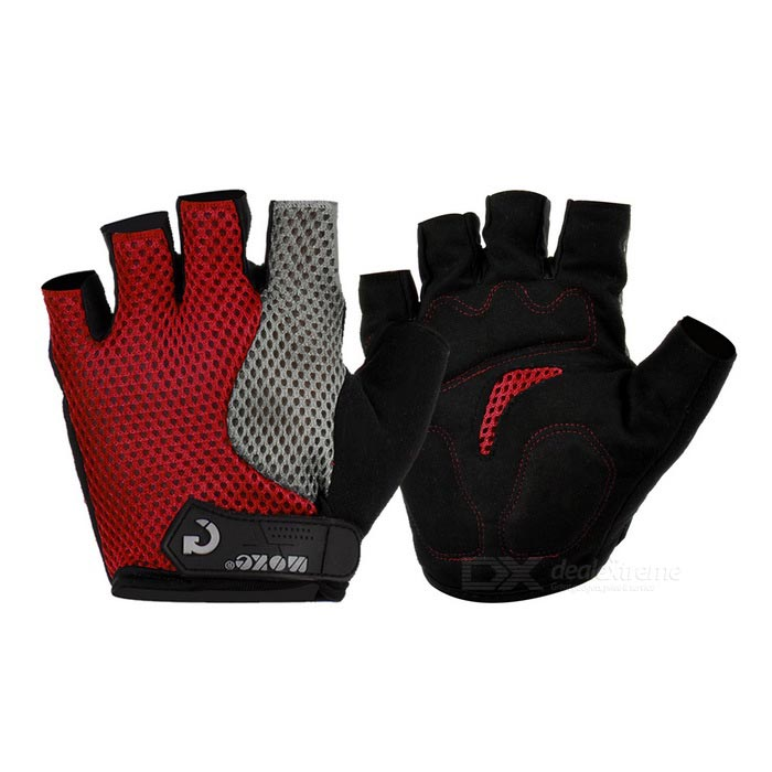 MOke Outdoor Cycling Half-Finger Gloves - Black + Red (L / Pair)