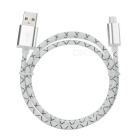 Micro USB Male to USB 2.0 Male Charging Data Sync Cable - White + Black (95cm)