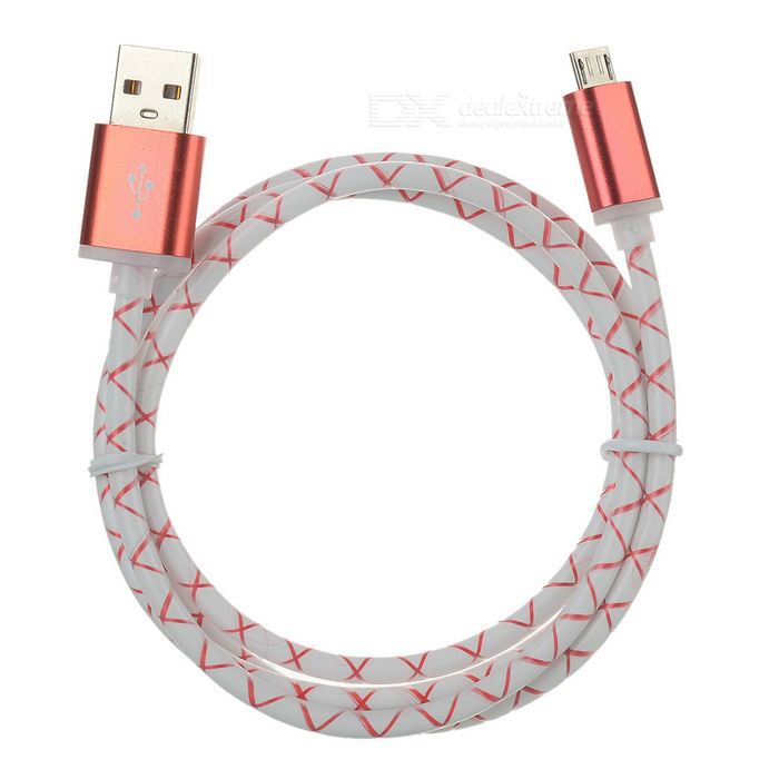 Micro USB to USB 2.0 Charging & Data Sync Cable - Red + White (95cm)