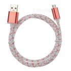 Micro USB Male to USB 2.0 Male Charging Data Sync Cable - Red + White (95cm)