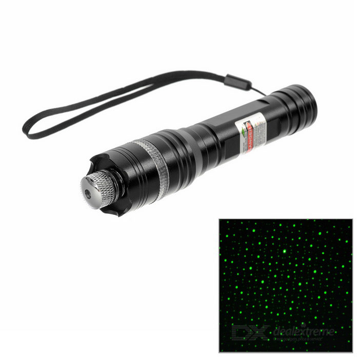 5mW Stars Style Green Light Bike Laser Pointer - Black + Silver