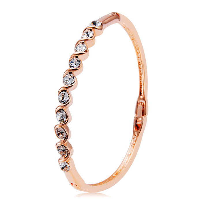 Xinguang twisted bracelet en cristal de conception pour les femmes - rose or