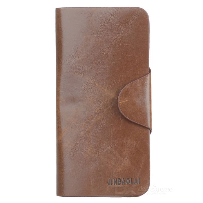 JIN BAO LAI Men's Fashionable Genuine Leather Cards Holder Long Wallet - Brown