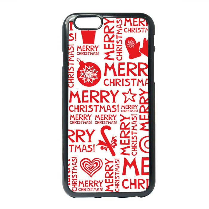 Protective Christmas Children Painting Letters Style Back Case for IPHONE 6 / 6S PLUS - Red + White