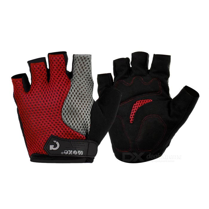 MOke Outdoor Cycling Breathable Sweat-Absorbing Half-Finger Gloves - Black + Red (XL / Pair)