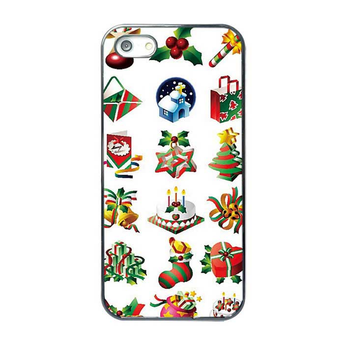 Protective Christmas Gifts Pattern TPU Back Case Cover for IPHONE 5 / 5S - White + Multi-Color