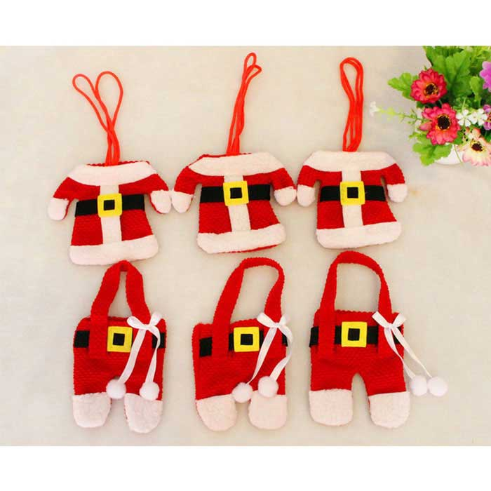 Santa Claus Clothes Cute Cover Set - Red (3PCS Clothes + 3PCS Pants)Christmas Gadgets<br>Form ColorRed + MulticoloredMaterialClothQuantity1 DX.PCM.Model.AttributeModel.UnitSuitable holidaysChristmasPacking List3 x Clothes3 x Pants<br>