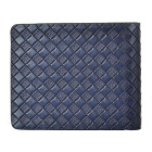 Men's Fashionable Woven Pattern PU Leather Short Wallet - Blue