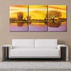 Frame-Free Twilight Scenery Painting Canvas Wall Art Picture (3 PCS)
