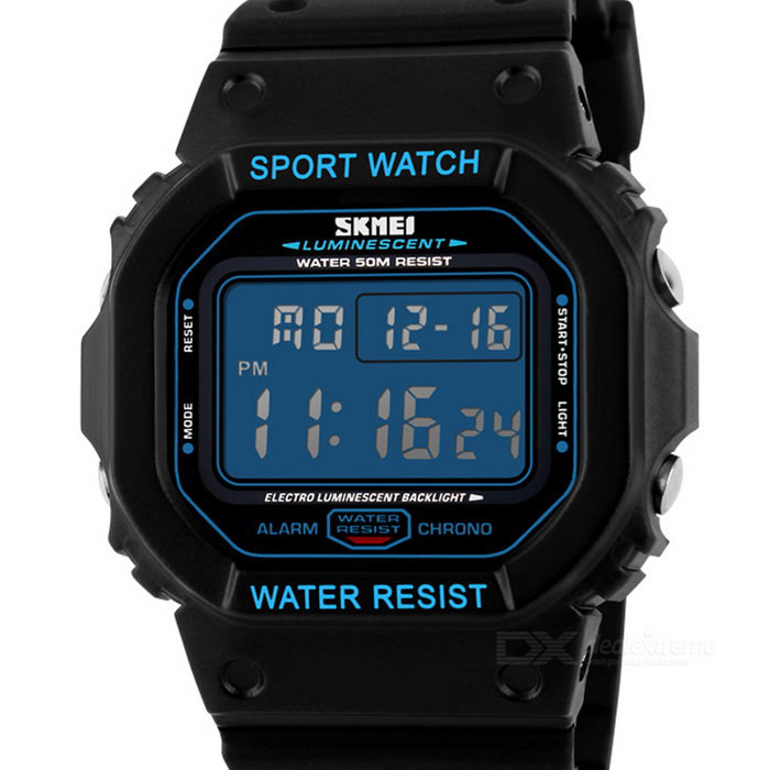 SKMEI 50m Waterproof PU Band Rectangular Dial Electronic Watch - Black + Blue (1 x CR2016)