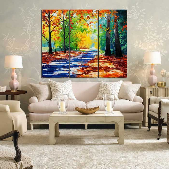 Good Frame Free Forest Landscape Painting Canvas Wall Art Picture (3PCS)