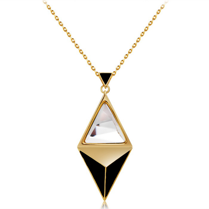 Xinguang Splicing Triangle Crystal Necklace - Golden + Black