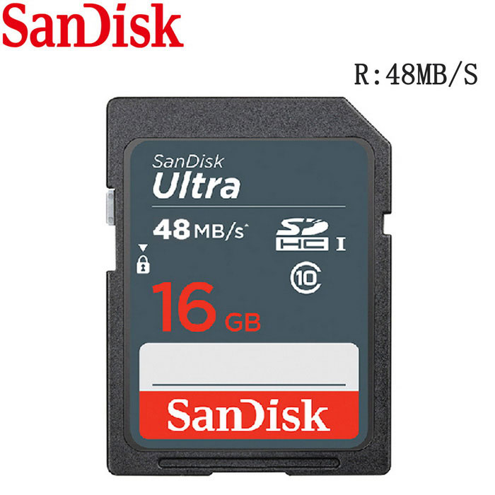 SanDisk Ultra 16GB SDHC Class 10 UHS-1 48MB/s Memory Card - Grey