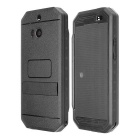Redpepper Case Ultra-thin Waterproof Shockproof Case w/ Dot View Screen, Holder for HTC One M8-Black