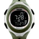 SKMEI 50m Waterproof Sport Watch w/ Environmental Temperature Display - Army Green + Silver