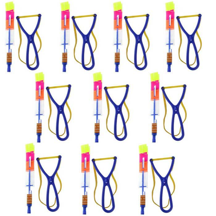 LED Light-up Rubber Slingshot Helicopter Toys for Kids - Blue (10PCS)