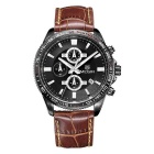 MEGIR Men's Genuine Leather Strap Analog Quartz Watch w/ & Calendar - Black + Coffee (1 x SR626-06)