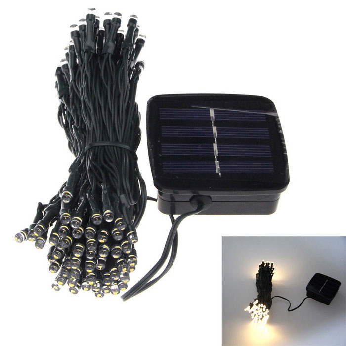 Colorful 6W LED Solar Light Sensor Garden Light String - Light GreenLED String<br>Form  ColorLight GreenColor BINWarm WhiteMaterialPlasticQuantity1 DX.PCM.Model.AttributeModel.UnitPower6WRated VoltageOthers,1.2 DX.PCM.Model.AttributeModel.UnitEmitter TypeLEDTotal Emitters100Color Temperature3200KWavelengthN/ATheoretical Lumens60 DX.PCM.Model.AttributeModel.UnitActual Lumens30 DX.PCM.Model.AttributeModel.UnitPower AdapterSolar PoweredCertificationCEPacking List1 x Solar panel1 x 20 cm frame1 x 100 LED Solar Light String1 x Instruction in English<br>