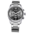 MEGIR Men's Fashion Steel Wristband Analog Quartz Watch w/ Calendar - Silver + Black (1 x SR626-06)