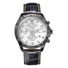 MEGIR Men's Genuine Leather Strap Analog Quartz Watch w/ Calendar - Black + White (1 x SR626-06)