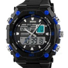 SKMEI 50m Waterproof Double Movement Men's Sports Watch - Black + Blue (1 x CR2016 / 1 x SR626SW)