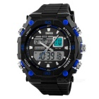 SKMEI 50m Waterproof Double Movement Men's Sports Watch - Black + Blue